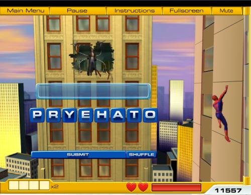 Spiderman Word Game